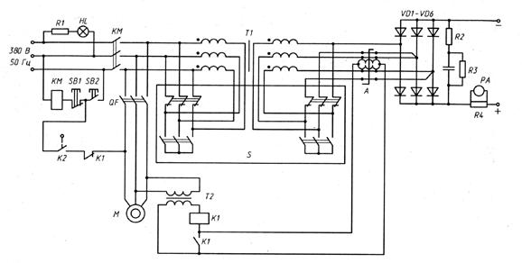 Принципиальная электрическая схема сварочного выпрямителя