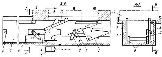 Шаговый конвейер-накопитель с управляемыми толкающими собачками