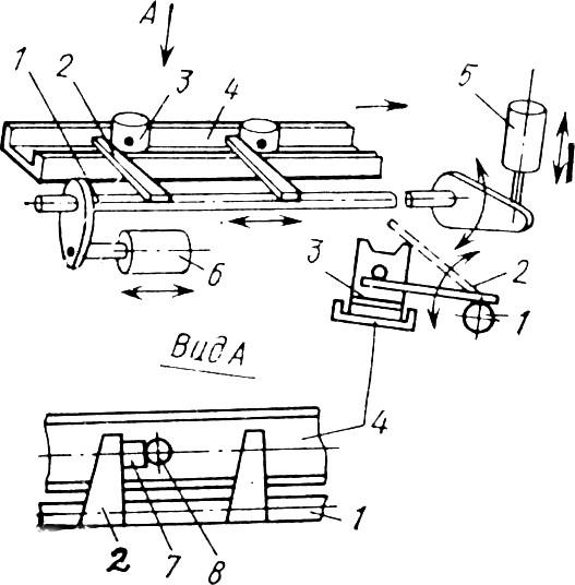 Шаговый конвейер с поворотными захватами