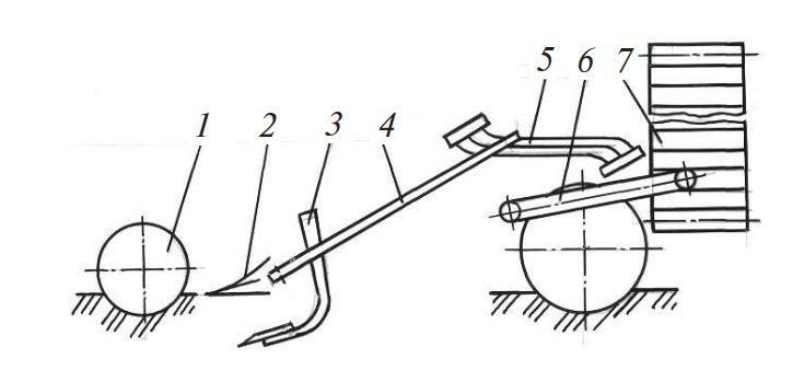 Схема комбайна теребильного типа для уборки моркови и столовой свеклы