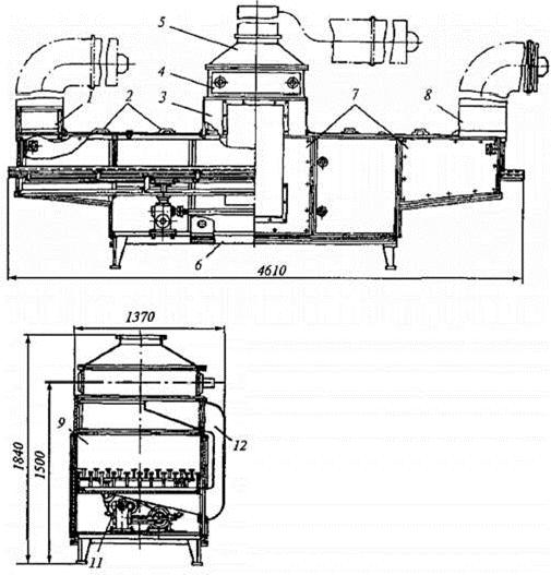 схема Машина марки 44А для обсушки сыров