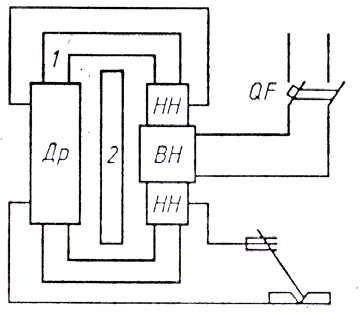 Схема сварочного трансформатора с подвижным магнитным шунтом