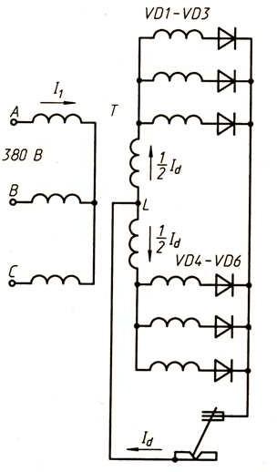 Шестифазная принципиальная схема выпрямителя с уравнительным реактором