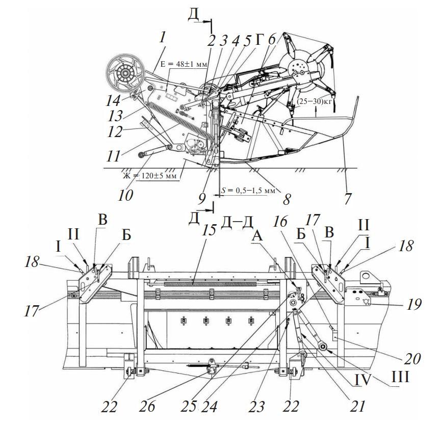 Соединение жатки с переходной рамкой наклонной камеры