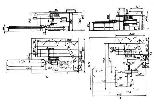Типовые планировки РТК на базе патронно-центрового станка 16К20Ф3