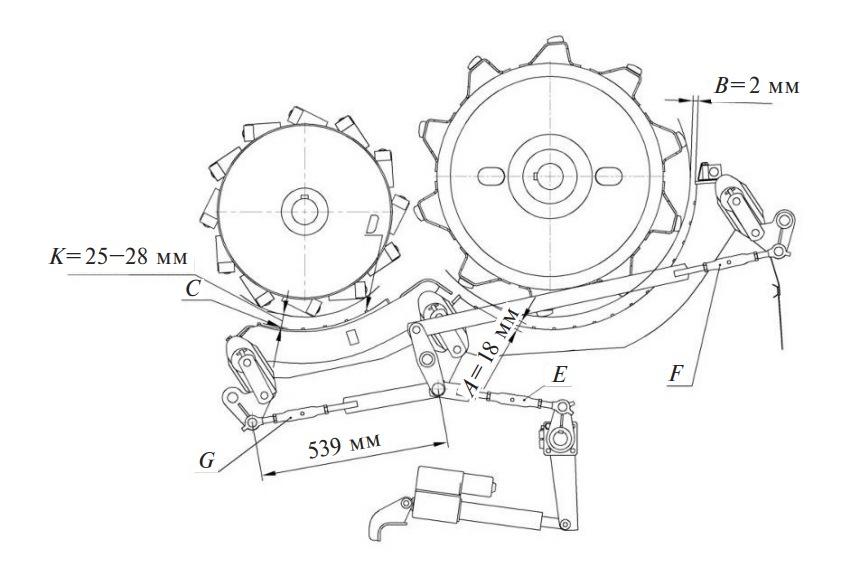 Зазоры и установочная длина регулируемых тяг в механизмах молотильного аппарата