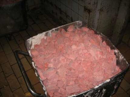 Дробленые блоки замороженного куриного фарша