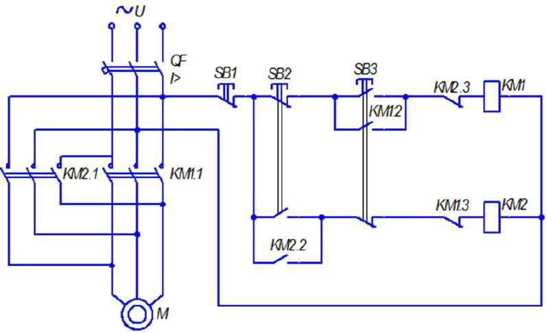Механическая и электрическая блокировки при реверсировании привода
