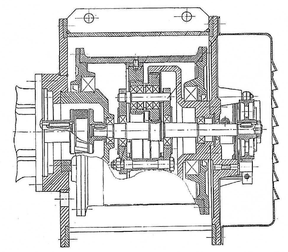 Механизм подъема с электродвигателем, фланец которого закреплен на корпусе тали. Редуктор – планетарный