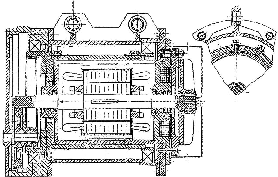Механизм подъема с электродвигателем, встроенным в барабан