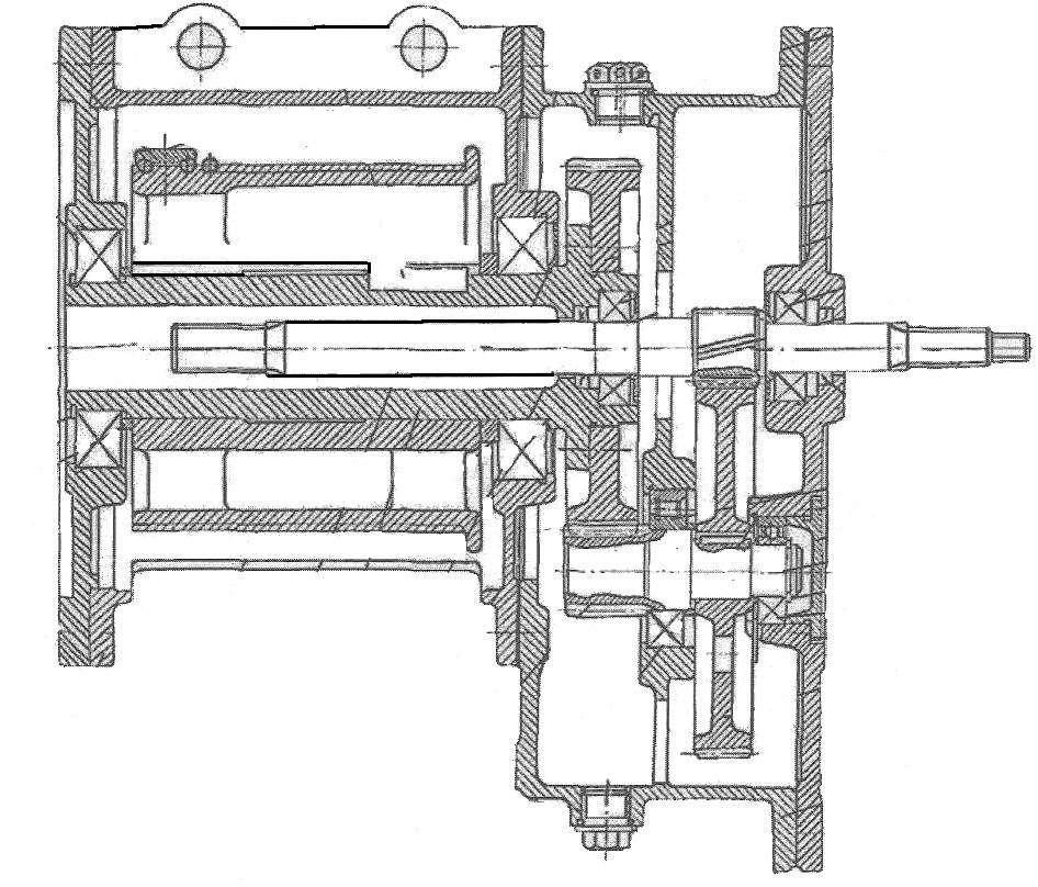 Механизм подъема тали с зубчатым редуктором и фланцевым креплением электродвигателя