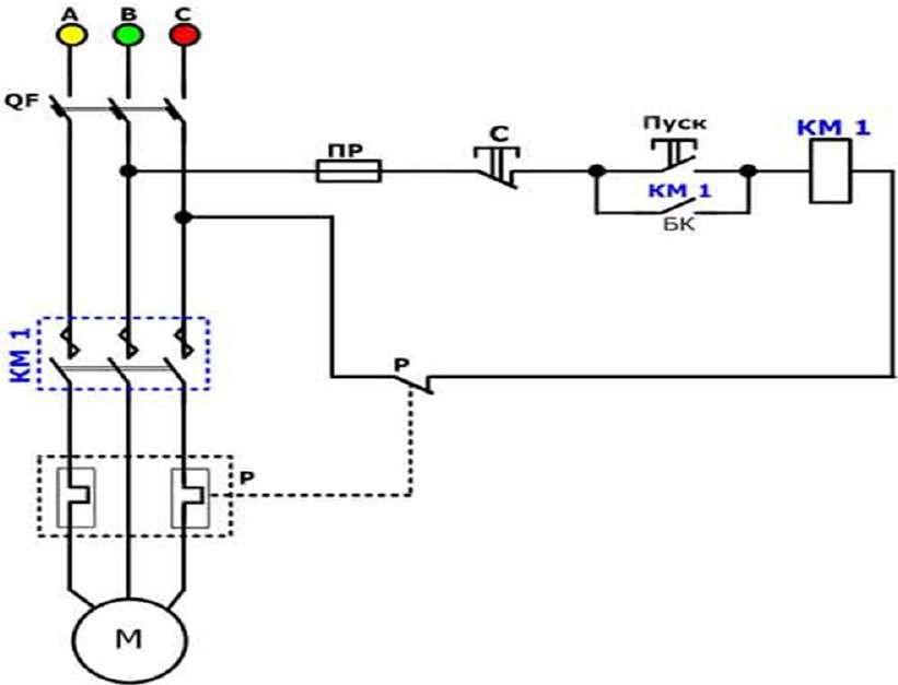 Не реверсивная схема магнитного пускателя с катушкой 380В
