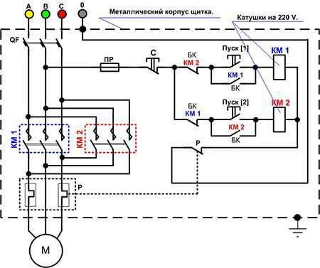 Реверсивная схема магнитного пускателя с катушкой 220В