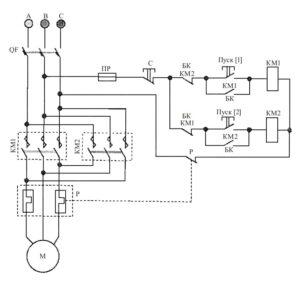Реверсивная схема магнитного пускателя с катушкой на 380 В
