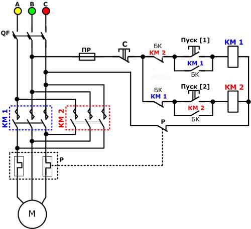 Реверсивная схема магнитного пускателя с катушкой 380В