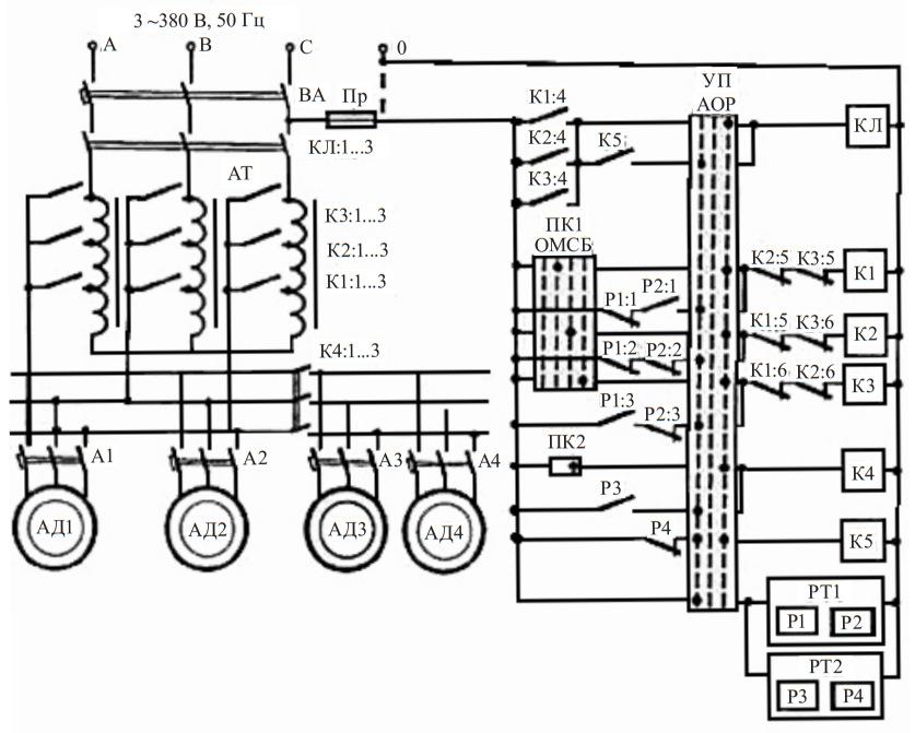 схема автоматического управления электроприводом вентиляционной установки
