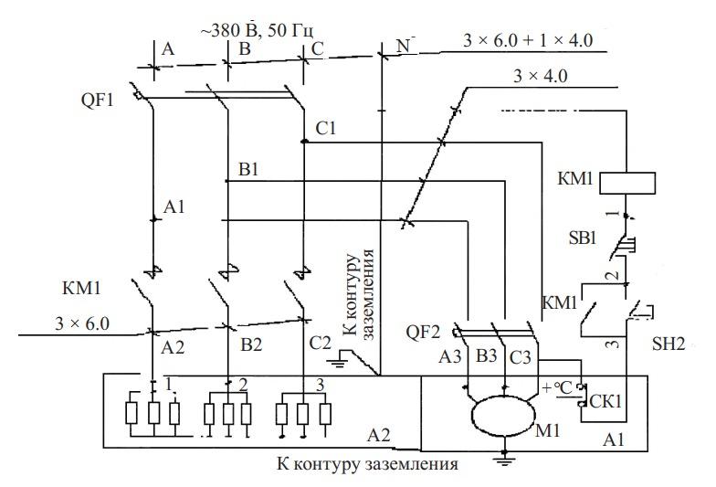 схема электрообогревателя СФО-33