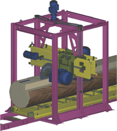 Схема механизма резания станка с угловым расположением пил