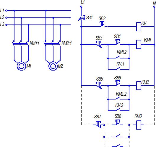 Схема одновременного включения нескольких электродвигателей