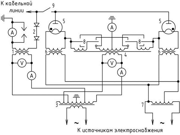 схема прожигательной установки на постоянном токе от выпрямителей