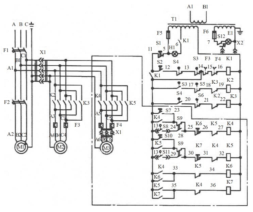 схема радиально-сверлильного станка мод. 2К52-1
