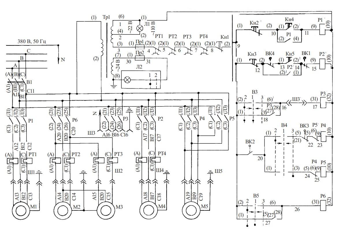 схема станка ЗЕ711В-1