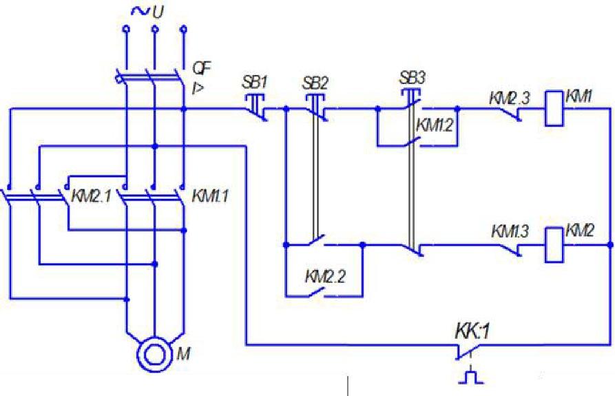 Схема управления асинхронным электродвигателем с короткозамкнутым ротором с помощью реверсивного магнитного пускателя