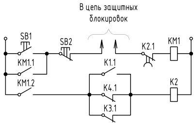 Схема узла контроля пуска конвейера
