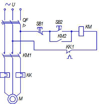 Схема включения асинхронного электродвигателя с короткозамкнутым ротором с помощью магнитного пускателя
