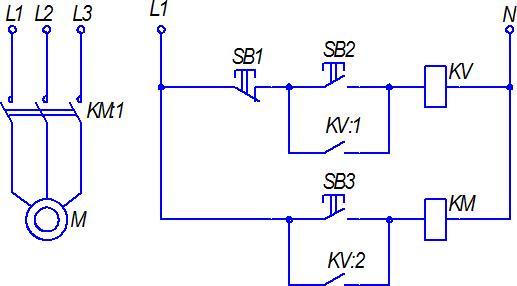Схема включения двигателя для работы в длительном и толчковом (установочном) режимах