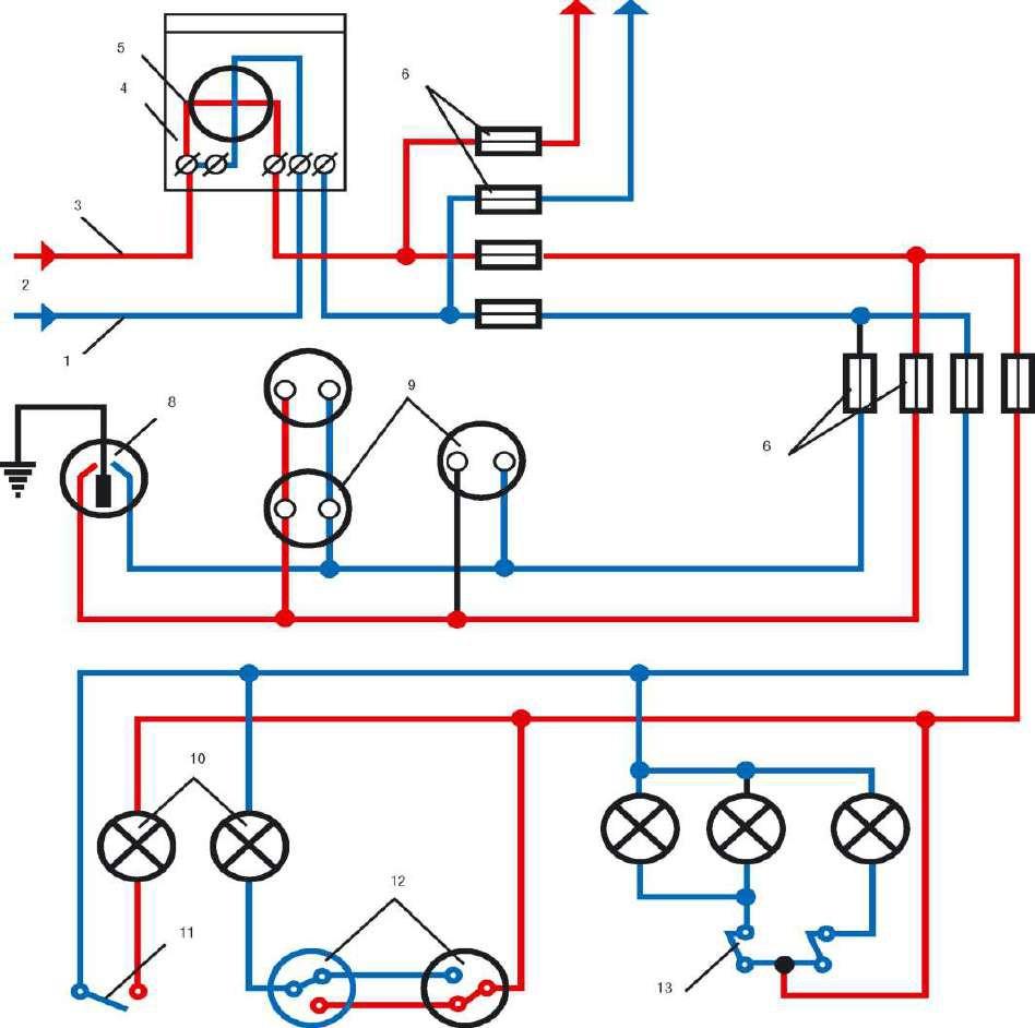 схема внутренней электропроводки