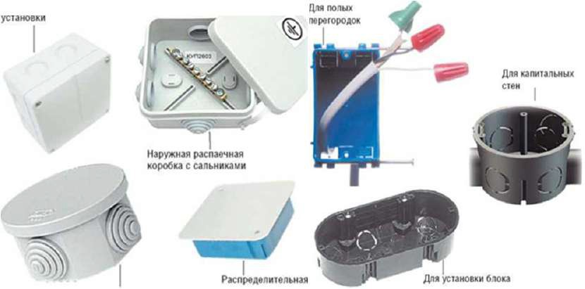 Виды электромонтажных коробок